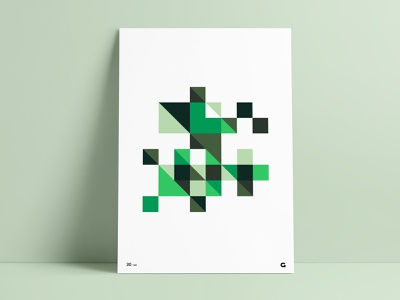 #30 - Minecraft Inspired Geometric Poster poster a day poster collection shades pixelated pixel pixels illustration design triangles squares green minecraft abstract agrib anthony wall art print poster art geometric