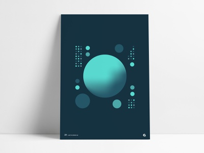 Poster 31 - Circular Space Panel poster series aqua teal blue gradient unique abstract circles geometric panel space dark anthony agrib printed print wall art art poster circular