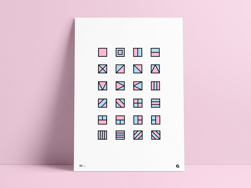 #32 - Geometric Containers Poster collection poster a day poster challenge art design illustration agrib print poster wall art line art line filled fill abstract containers container blue pink geometric