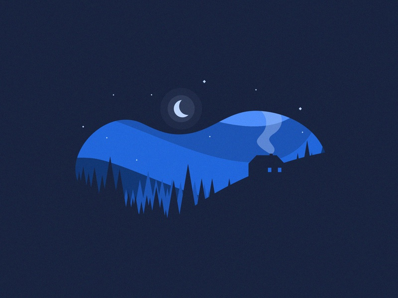 Cold Cottage Night negative space coreldraw corel vector agrib blue wavy chilly cool cold chimney fire smoke home house icon illustration night winter cottage