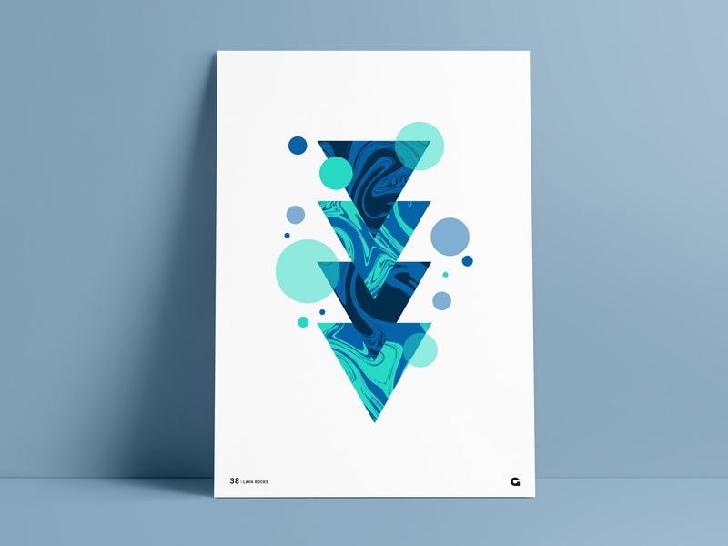 Poster 38 - Liquid Triangles blue poster art print wall art circle circles abstract art geometric art geometric geometric poster abstract poster triangle triangles challenge poster gribben anthony agrib liquids liquid