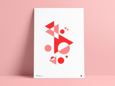 Poster 39 - Red Geometric dots triangles circles geometric illustration geometria geometric design geometric art geometric abstract anthony agrib wall posters print wall art poster challenge poster collection poster art poster red poster red