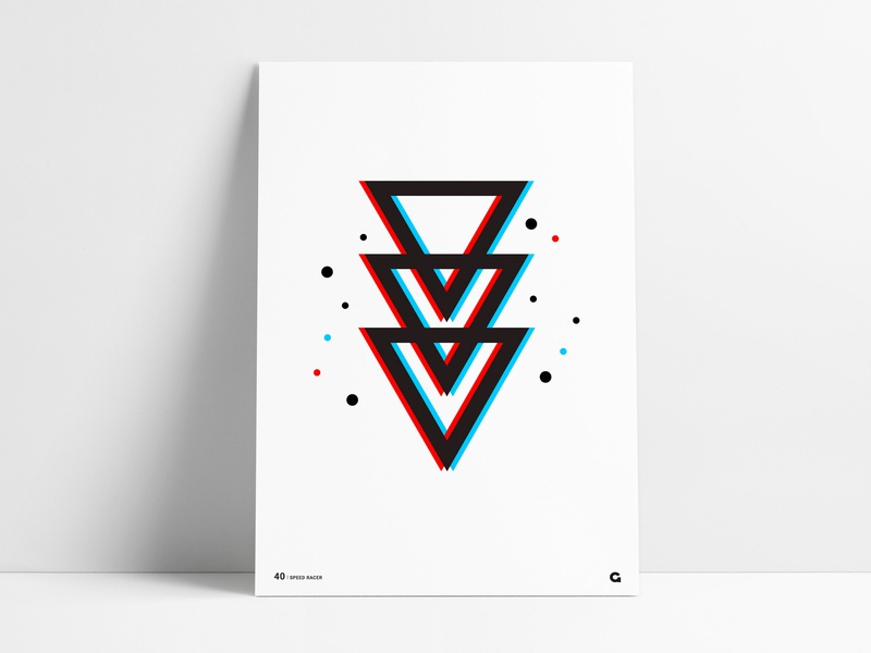Poster 40 - Geometric Blur motion blurred blur interlocking spots agrib poster unique clean simple colorful dots triangular triangles hollow wall art print printing spot color offset