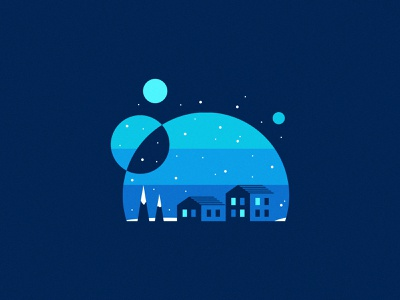 Snowy Night bluesky blues design vector architecture negative space night icon houses home blue corel coreldraw illustration anthony gribben agrib snowglobe snowing snowy snow