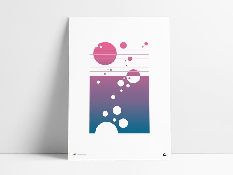 Poster 42 - Dusk Rising circles bubbles rising dusk anthony poster art poster collection vertical print agrib navy blue pink puprle geometric abstract abstract geometric geometric art abstract art geometric poster