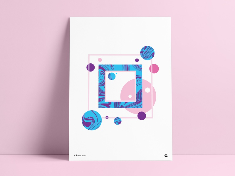 Poster 43 - Time Warp redbubble poster art art prints art print dots pink blue purple circles square abstract art abstract liquid fill liquid agrib poster collection poster for sale prints geometric
