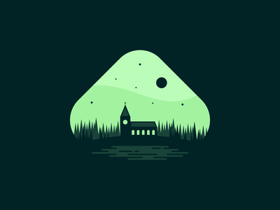 Church at Twilight twilight icon moon moonlight trees pond water agrib shades of green night time nighttime glowing night night negative space cross chapel church design church green illustration