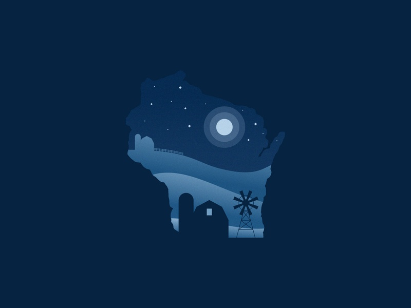Wisconsin Farm Nights moonlight sky agrib texture blue silo land illustration midwest house glowing windmill barn night negative space country countryside farmland farm wisconsin