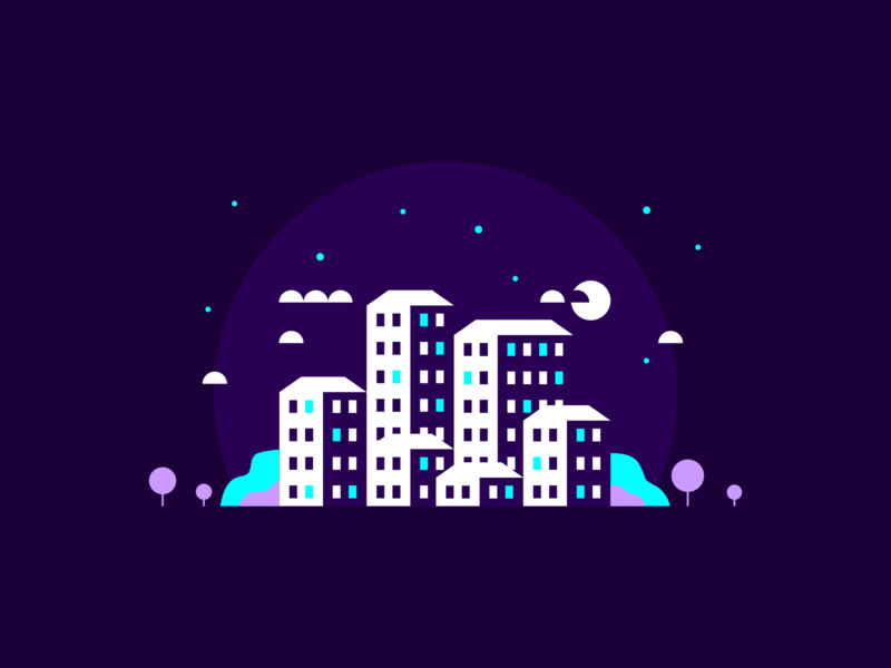 Nighttime in the City teal moon trees icons design logo icon colorful bright colors bright color bright purple architecture buildings agrib negativespace city illustration nighttime night