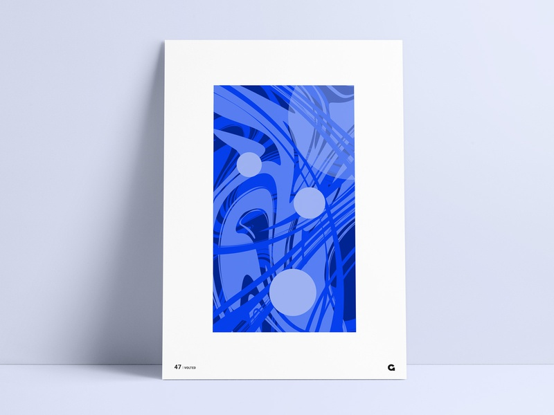 Poster 47 - Volted custom poster challenge blue poster circles circular poster print poster series swirling winding shades of blue blue crazy wild paint paint swirls abstract poster abstract art abstract geometric agrib
