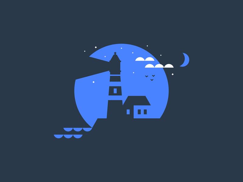Nighttime Lighthouse freelance designer vector icon illustration agrib stars clean simple home house negative-space negative space waves geometric geometric illustration clouds moonlight nighttime night lighthouse