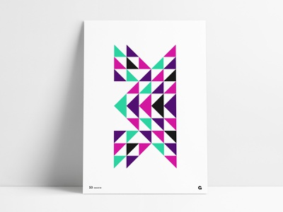 Poster 50 - Triangular Mirrored abstract shapes agrib wall art artwork negative space reversed print colorful bright colors neon colors poster art geometric art geometric poster triangle poster triangles mirrored triangulation triangular