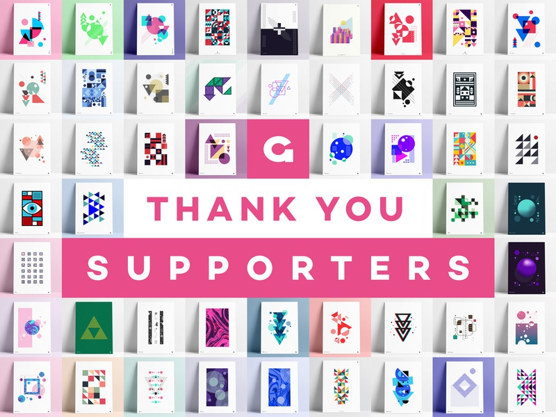 Thank You Supporters - 50 Posters support thanking thanks shapes geometric abstract abstract poster abstract art abstract geometric poster geometric art geometric posters 50 agrib thank-you thankful thank you dribbble dribbble supporters thank you
