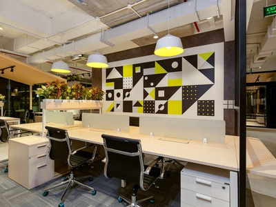 Bespokify - Vietnam Office IV interior design vietnam bespokify agrib geometric design geometric artwork geometric corporate mural corporate branding business wall business mural business company mural company branding company office mural murals mural office office wall