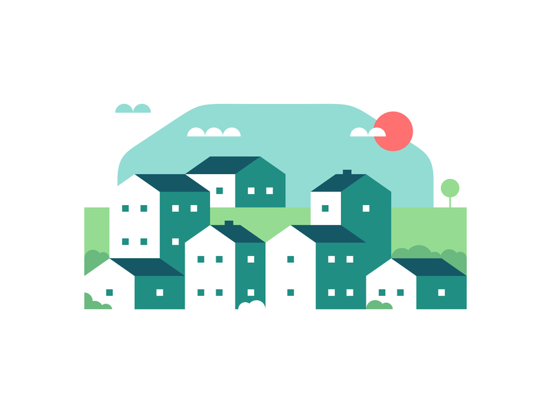 Country Town Illustration geometric illustration village town vector svg illustrator art sunny afternoon day website graphics website illustration city cityscape green home homes vector graphic design buildings clean negative space negativespace city illustration town illustration village illustration agrib illustration countryside