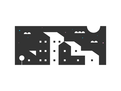 In the Moonlight moon buildings stars scene clouds website illustration agrib homes illustration black and white negative-space negative space negativespace nighttime night nightlight moonlight mansion houses house