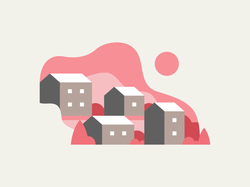 Wavy Hillside Homes city country countryside housing living style vector svg art day sun sky abstract abstraction roof roofs roofing red pink house houses home homes hill hills hillside wave wavy wavey landscape landscapes homes illustration landscape illustration houses illustration house illustration icon website illustration agrib illustration