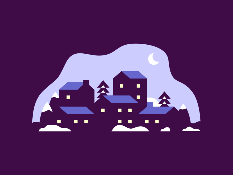 Aspen community aspen architecture buildings city town houses homes nighttime purple moonlight night winter agrib illustration illustrator snowy snow negativespace negative space