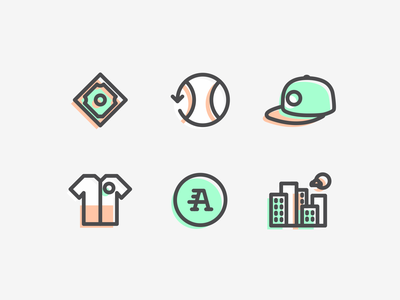 Baseball Icons sport offset set iconography jersey diamond field logo illustration hat cap line art lineart line mlb hardball baseball icons icon agrib