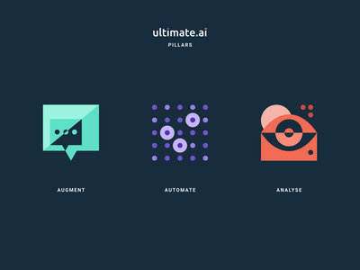 Ultimate AI Pillars icon designs icon design abstract shapes geometrical geometric analyse analyze automate augment agrib vector iconography branding and identity branding icons icon artificial intelligence artificialintelligence ultimate ai