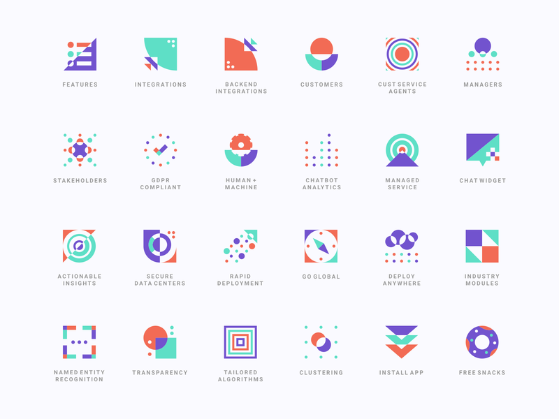 Ultimate AI Iconography geometrical branding and identity artificial intelligence shapes icon design icon system technology tech ultimate ai colorful vector geometric abstract icon icons identity branding iconography icon set agrib