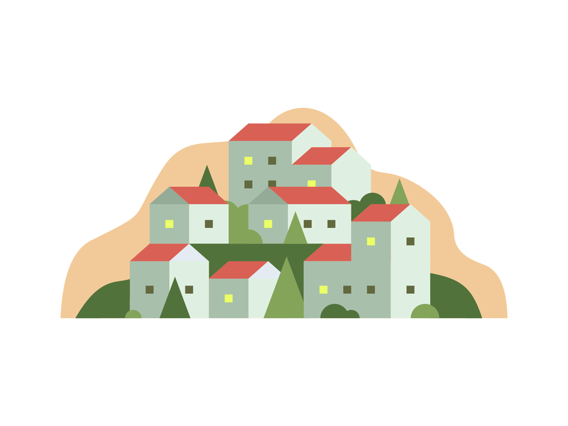 Hillside Living hill neighborhood village town city landscape autumn abstract orange fall icon agrib residence living stacked hillside houses illustration homes home