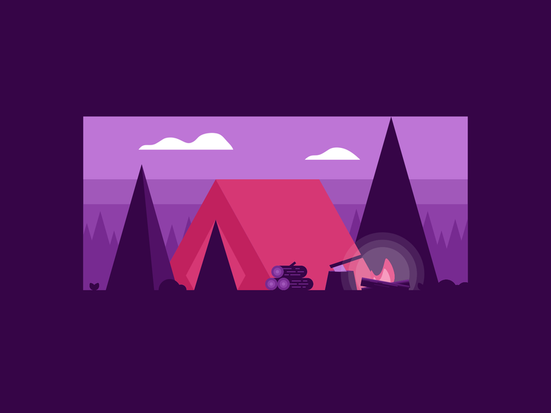 Nighttime Camping Illustration trees negative space wood fire tent hiking agrib glowing campfire purple nighttime night northwoods wooded woods campground outdoors outdoor illustration camping