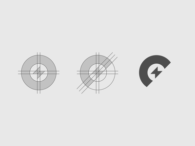 Connor Electrical Mark Creation Process electric branding circular angled lightning bolt letter c letter c electrician agrib grid lettermark process creation process design process logo logomark electrical mark