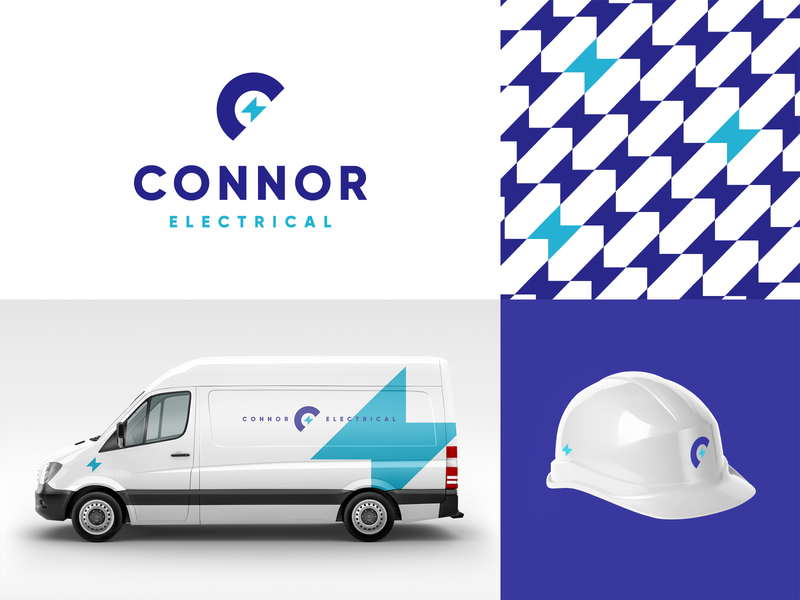Connor Electrical utility purple logo mockup vehicle van agrib bolt lightning pattern design logo branding brand services service electric connor electricity electrician electrical