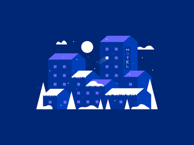 Winter Town Night Illustration isometric lighting homes hotel buildings city agrib illustration frozen cold chilly snowing snow weather landscape abandoned isolated town december winter