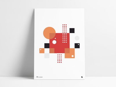 Poster 52 - Geometric Blocks print design squares circles dots poster series poster a day geometrical agrib orange red art print wall art poster print overlapping blocks poster designer poster design abstract geometric