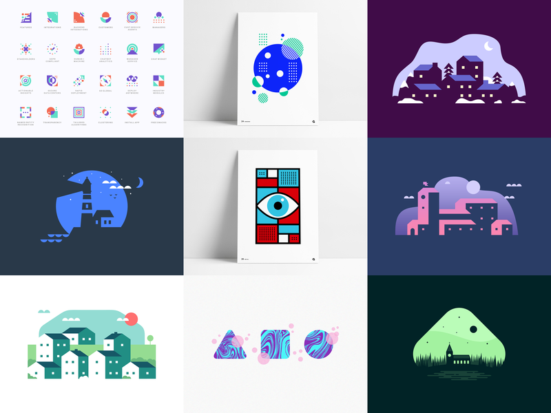 Top 9 of 2019 negative space minimal icon system branding abstract geometric icons iconography my top 9 shots posts top landscapes posters illustrations agrib 2019 top shots 9 top 9