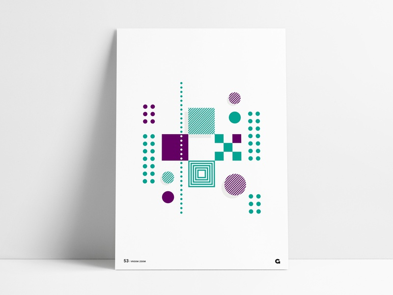 Poster 53 - Abstract, Geometric + geometrical dots print design printmaking abstract art striped shapes shadow print art print purple green poster a day poster challenge poster art poster geometric agrib abstraction abstract
