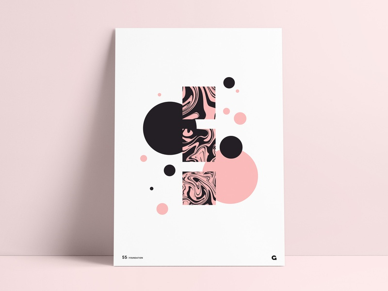 Poster 55 - Liquid Blocks black and pink poster design abstract squares square circular circles shapes geometric poster art wall art poster a day agrib poster print stacked stacking blockstack blocks liquid