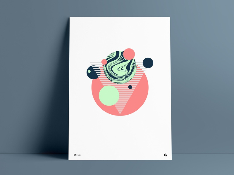 Poster 56 - Liquify shapes orange pale green mint abstract geometric triangular triangle striped poster a day poster challenge agrib circular circles liquify liquid wall art poster vector