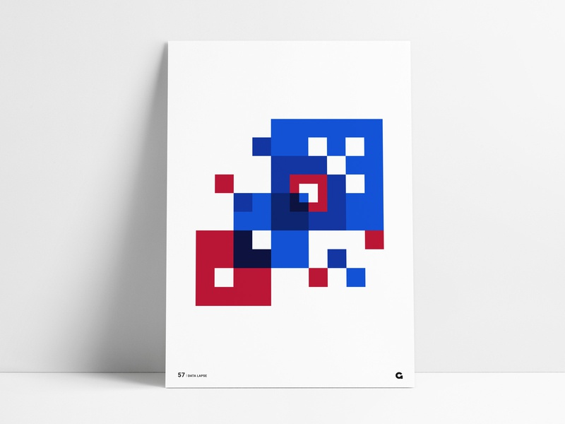 Poster 57 - Layered Squares negative space poster designer poster design shades blue white red poster a day poster series agrib wall art abstract print poster geometrical geometric overlay layered squares square