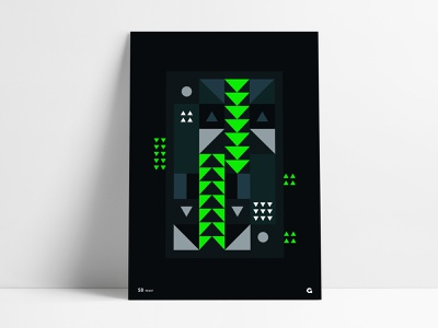Neon Dark Triangular Poster shapes geometric abstract mirrored columns inverted bright poster a day series agrib wall art triangles triangular fluorescent green black dark print poster neon