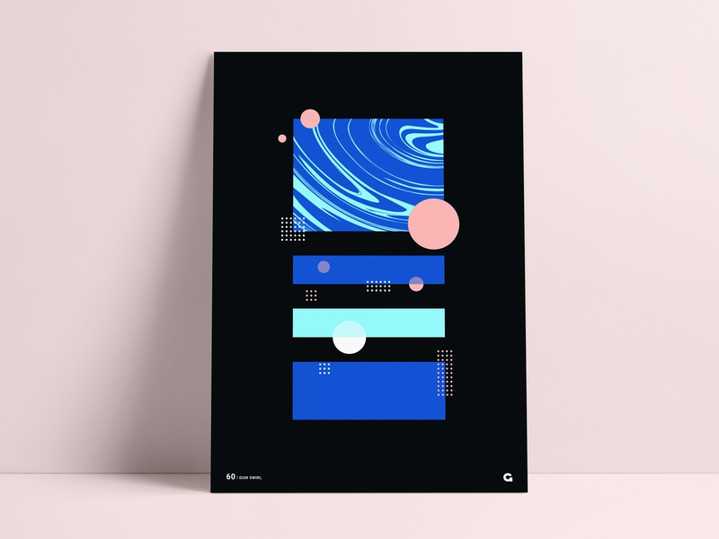Stacked Swirl Geometric Poster block dark spheres circles rectangles square overlay fill liquid geometric artist poster series poster designer abstract anthony agrib print poster geometric swirling swirl