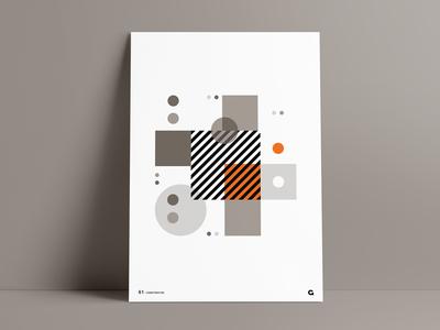 Orange Splash Geometric Poster