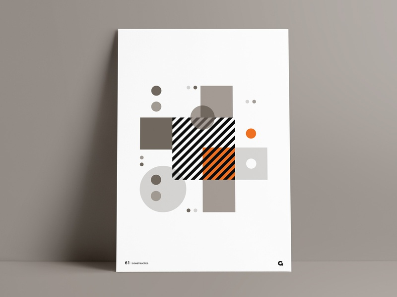 Orange Splash Geometric Poster poster art geometric art poster design overlay square poster a day circles circular art abstract orange striped print agrib blocks stacked poster series wall art poster geometric