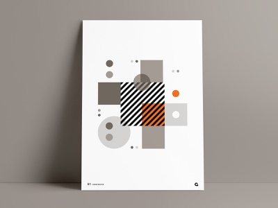 Orange Splash Geometric Poster poster art geometric art poster design overlay square poster a day circles circular art abstract orange striped print agrib blocks stacked poster series wall art poster geometric