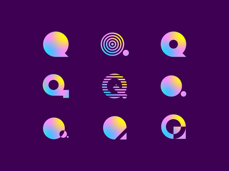 Q Mesh Gradients negative space branding lettering letter colorful abstract blue yellow pink lettermark agrib logo q letter q lettermarks icons gradient mesh gradient meshfill mesh