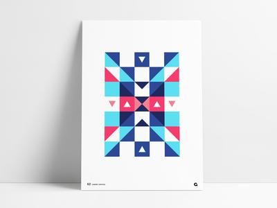 Geometric Block Triangle X Poster