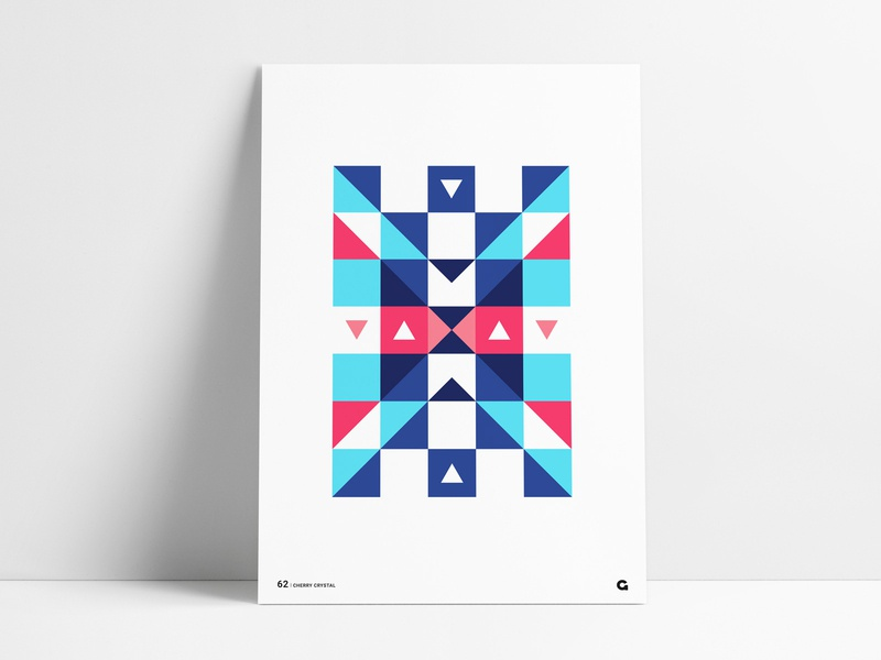 Geometric Block Triangle X Poster blocks squares series blue red shapes geometrical geometric mirrored inverted wall art poster a day agrib poster print x negativespace negative space triangular triangles abstract
