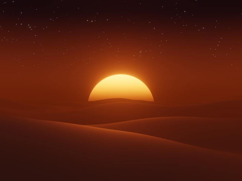 Desert Sunset evee desert digitalart 3d blender3d