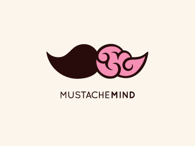 Mustache Mind mr communication consultant translation talk speech bubble social media logo icon flat line smart clever mustache brain mind