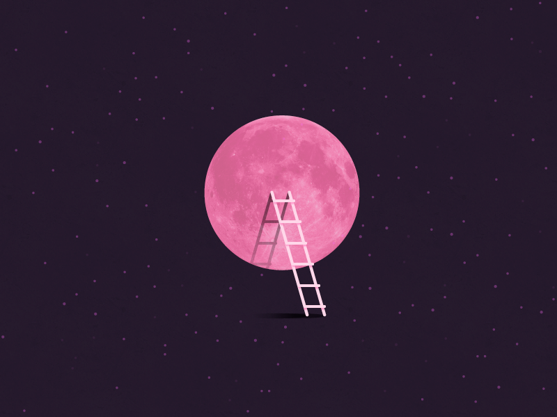 Pink Full Moon Tonight Minimal Ilration Ladder April
