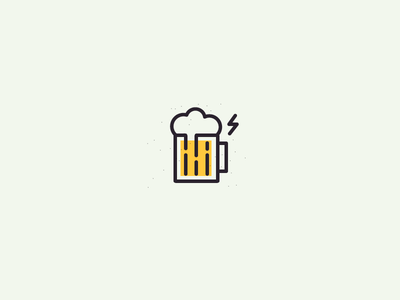 Thunderbar, wunderbar! logo icon minimal simple brew drink beer restaurant bar flat line smart clever raining weather thunder cloud