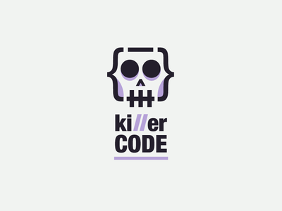 Killer Code Logo tech geek minimal simple digital web code developer smart clever digital web illustration dead death killer skull flat line icon logo