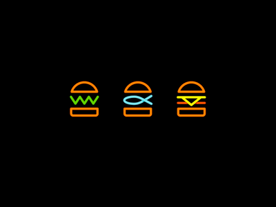 Neon Burger Icons smart clever bar and club night shop delicious minimal simple icon logo eat hipster city restaurant neon light flat line fast food hamburgers burger